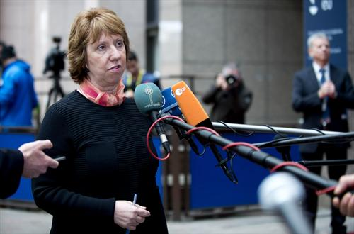 Catherine Ashton, High Representative of the EU for Foreign Affairs and Security Policy, speaking to the Press while heading for the Extraordinary Foreign Affairs Council which took place in Brussels, on 3 March 2014. (The Council of the European Union photographic library).