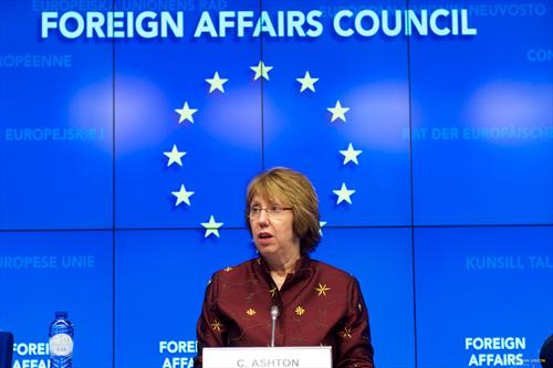Catherine Ashton, High Representative of the European Union for Foreign Affairs and Security Policy. Press conference after the Foreign Affairs Council. Almost like a European saint... (The Council of the European Union photographic library, 17/3/2014).