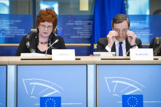 European Parliament. Committee on Economic and Monetary Affairs (ECON) meeting. Hearing with Mario Draghi, President of European Central Bank and head of the European Systemic Risk Board. In the chair of the ECON Committee, Sharon Bowles. Draghi trying to improve his vision by adjusting his glasses. (EP Audiovisual Services, 3.3.2014)