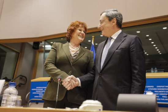 European Parliament. Committee on Economic and Monetary Affairs (ECON) meeting: Hearing of Mario Draghi as ECB president here photographed with Sharon Bowles (ALDE, UK) ECON Chair (EP Audiovisual Services).