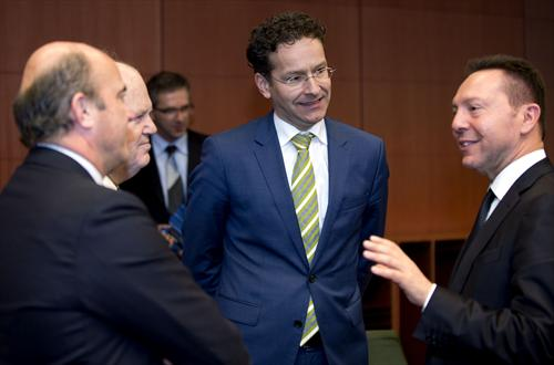 Eurogroup meeting of 10/3/2014. (From left to right) Luis De Guindos Jurado, Spanish Minister for Economic Affairs and Competitiveness, Michael Noonan, Irish Minister for Finance, Jeroen Dijsselbloem, President of the Eurogroup and Dutch Minister for Finance, Ioannis Stournaras, Greek Minister for Finance. (Council of the European Union Audiovisual Services, 10/3/2014).