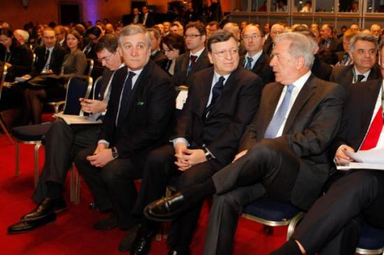 José Manuel Barroso, President of the European Commission, Antonio Tajani, Vice-President of the EC in charge of Industry and Entrepreneurship, and Michel Barnier, Member of the EC in charge of Internal Market and Services, participated in the High-level conference on the future of the European Security and Defence sector. Dimitris Avramopoulos, Greek Minister for National Defence and President in office of the Council of the EU, was also present. (in the first row of seats, from left to right) Philip Dunne, British Minister for Defence Equipment, Support and Technology, with responsibility for Defence Procurement and Defence Exports, Antonio Tajani, José Manuel Barroso and Dimitris Avramopoulos. (EC Audiovisual Services, 04/03/2014).