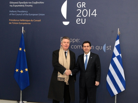 Athens informal meeting of the EU Foreign Affairs Council (Trade). European Commissioner Karel de Gucht, responsible for Trade (on the left), shakes hands with Greek Deputy Minister Notis Mitarachi, who held the rotating Presidency of the Council. (Greek Presidency photographic library, 28/2/2014).