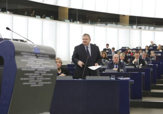 European Parliament. Plenary session, week 6, 2014 – Discussion on the Single Resolution Mechanism and a Single Bank Resolution Fund. Evangelos Venizelos, Deputy Prime Minister and Minister of Foreign Affairs of Greece, has the floor. Greece holds the rotating Council Presidency during the first half of this year. (EP Audiovisual Services, 04/02/2014).