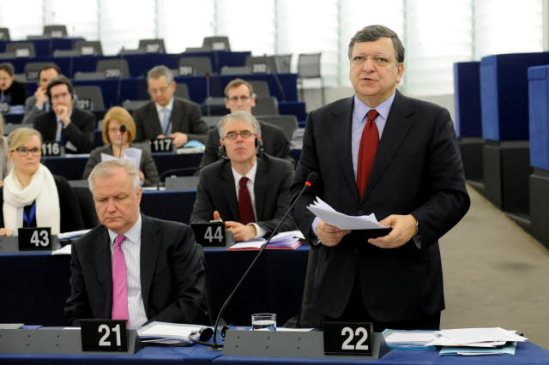 European Parliament. Plenary session, week 11, 2014 in Strasbourg. Preparations for the European Council meeting (20-21 March 2014). Council and Commission statements. (in the forefront) Jose Manuel Barroso, European Commission President has the floor (standing on the right) and Commissioner Olli Rehn EC Vice-President in charge of Economic and monetary affairs and the Euro. (EP Audiovisual Services 12/3/2014).