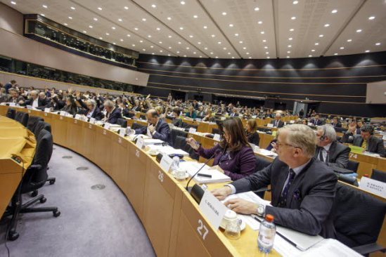 European Parliament. Committee on Economic and Monetary Affairs (ECON). Meeting on banking supervision. Vote on the bank single resolution mechanism and fund. (EP Audiovisual Services).