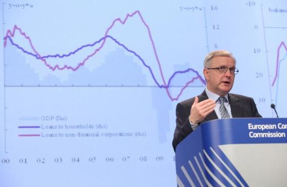 Olli Rehn, Vice-President of the EC in charge of Economic and Monetary Affairs and the Euro, gave a press conference on economic forecasts for Eurozone. (EC Audiovisual Services).
