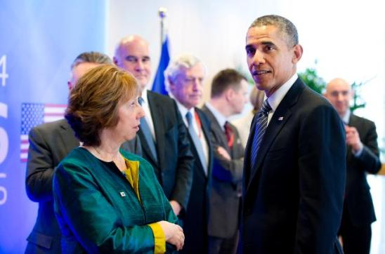 The the EU/US Summit. Barack Obama, President of the United States and Catherine Ashton, High Representative of the Union for Foreign Affairs and Security Policy and Vice-President of the EC. Evidently the US President looks the other way. (EC Audiovisual Services 26/03/2014).