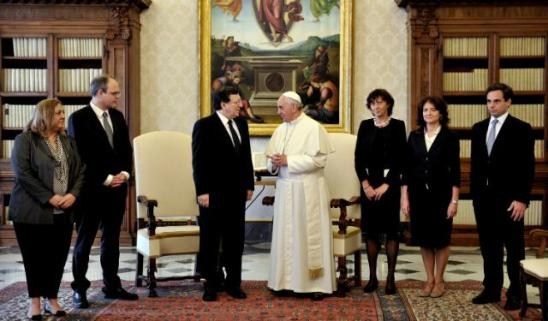 Visit of José Manuel Barroso, President of the European Commission to the Holy See/Vatican City State. (From left to right) Leonor Ribeiro da Silva, Deputy Spokesperson of the EC and Spokesperson of José Manuel Barroso, Johannes Laitenberger, Head of cabinet of José Manuel Barroso, José Manuel Barroso, Pope Francis, Laurence Argimon Pistre, Head of Delegation of the EU to the Holy See, to the Order of Malta and to the United Nations Organisation in Rome, Arianna Vannini, Adviser to José Manuel Barroso, and Ricardo Borges de Castro, Member of the cabinet of José Manuel Barroso. (EC Audiovisual Services 15/06/2013).