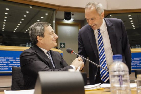 European Parliament. Committee on Economic and Monetary Affairs meeting. Monetary dialogue with Mario Draghi, President of the European Central Bank (seated). MEP Peter van Dalen (ECR, NL) greets the central banker to Parliament. (EP Audiovisual Service 16/12/2013).