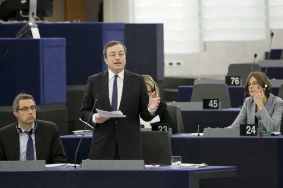 Mario Draghi, President of the European Central Bank, delivering a speech at the European Parliament. (EP Audiovisual Services).