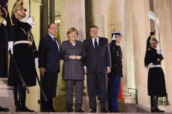 François Hollande, President of the French Republic (first from left) received in Paris, Angela Merkel, the German Federal Chancellor and José Manuel Barroso, President of the European Commission (first from right) . Here they are pictured at the entrance of the Presidential Palace in the heart of French capital, surrounded by guards standing at attention. The occasion was a discussion on European competitiveness with Members of the European Roundtable of Industrialists (ERT). (EC Audiovisual Services 19/02/2014).