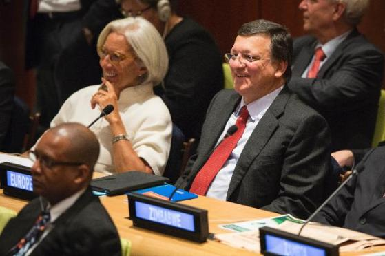 Christine Lagarde, Managing Director of the International Monetary Fund (IMF), and José Manuel Barroso, President of the European Commission attending the 68th session of the United Nations General Assembly (UNGA) in New York. (in the background, from left to right). (EC Audiovisual Services).