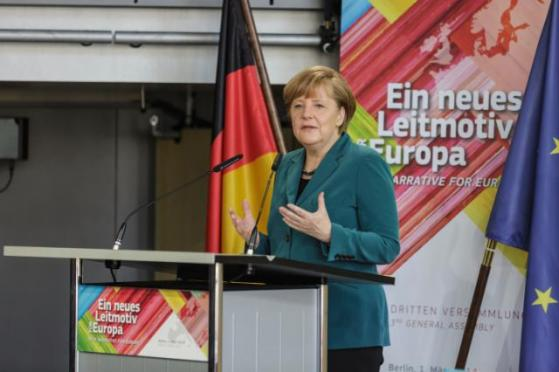 Angela Merkel, German Federal Chancellor speaking at the 3rd General Assembly of the 'New Narrative for Europe', an even held in the Academy of Arts (Akademie der Künste) of Berlin. (EC Audiovisual Services 01/03/2014).
