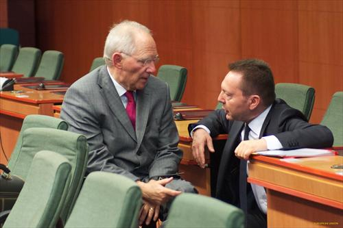 From left to right: Wolfgang Schauble, German Federal Minister for Finance and Ioannis Stournaras, Greek Minister for Finance. Obviously they discuss what Greece and the other south Eurozone countries need most; growth (Audiovisual Services , 'The Council of the European Union').