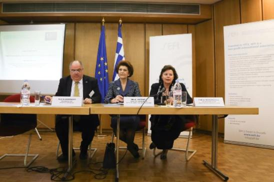Androulla Vassiliou, Member of the EC in charge of Education, Culture, Multilingualism and Youth delivered a speach at the debate entitled 'The Crisis in Europe and the Future of Higher Engineering Education', co-organised by the European Society for Engineering Education and the Greek Presidency. (from left to right) Kamel Hawwash, President of the European Society for Engineering Education (SEFI) and Professor in the School of Civil Engineering at the University of Birmingham, Androulla Vassiliou and Antonia Moropoulou, Vice President of SEFI and Professor at the National Technical University of Athens, School of Chemical Engineering, Section of Materials Science and Engineering. (EC Audiovisual Services, 07/04/2014).