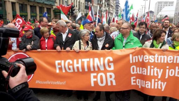 On 4 April 2014, the members of the Workers' Group of the EESC took part in a demonstration organised by the European Trade Union Confederation in Brussels. (EESC photographic library).