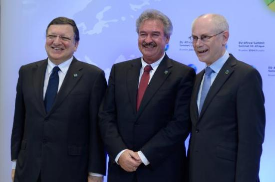 Herman van Rompuy, Jean Asselborn, Luxembourgish Minister for Foreign and European Affairs; Minister for Immigration and Asylum, and José Manuel Barroso (from right to left)