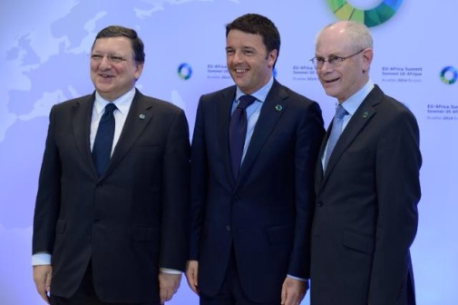 Herman van Rompuy, Matteo Renzi, Italian Prime Minister, and José Manuel Barroso (from right to left)