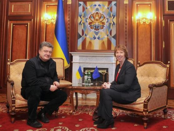 In eve of the Maidan uprising last February Petro Poroshenko, then Member of the Ukrainian Parliament, Co-Chairman of the Committee on Ukraine/EU Parliamentary Cooperation, met with Catherine Ashton High Representative of the Union for Foreign Affairs and Security Policy and Vice-President of the EC, who traveled to Kiev where she paid tribute to the victims at the symbolic place of the protest movement EuroMaidan. (EC Audiovisual Services 24/02/2014).
