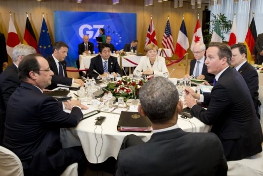 Matteo Renzi, Italian Prime Minister, Shinzo Abe, Japanese Prime Minister, Angela Merkel, German Federal Chancellor, Herman Van Rompuy, President of the European Council, José Manuel Barroso, President of the European Commission, David Cameron, Prime Minister of UK, Barack Obana, President of the United States of America, Francois Hollande, President of France, Stephen Harper, Canadian Prime Minister (clockwise). Everybody was there in the G7 Summit of 05.06.2014 in Brussels, except Jean-Claude Juncker. (European Council – Council of the European Union, Newsroom).