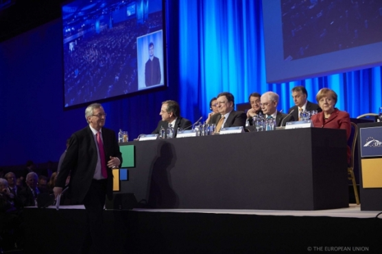 European Peoples' Party Congress in Dublin. General view. Jean-Claude Juncker goes to the rostrum, after being nominated EPP's candidate for EU Commission Presidency. Shoot date: 07/03/2014. (European Council – Council of the EU Newsroom).