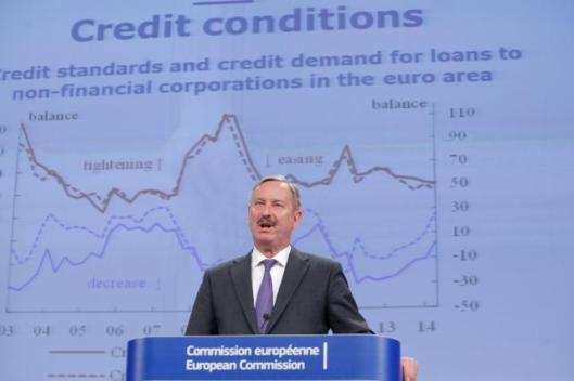 Siim Kallas, Vice-President of the European Commission in charge of Transport and Economic and Monetary Affairs and the Euro (pro term), gave a press conference on the 2014 spring economic forecast... Inflation was expected to remain low, both in the EU (1.0% in 2014, 1.5% in 2015) and in the euro area (0.8% and 1.2%). (EC Audiovisual Services 05/05/2014).
