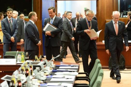 Special meeting of the European Council. Herman van Rompuy, President of the European Council 1st from the right, David Cameron, British Prime Minister, in the centre, and Joseph Muscat, Maltese Prime Minister, 2nd from the left (in the foreground). (EC Audiovisual Services).