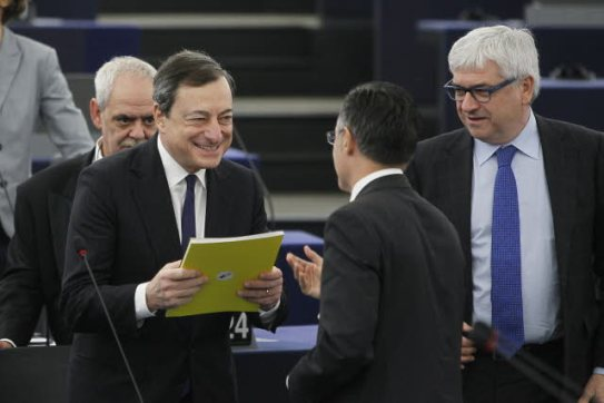 European Parliament. Plenary Session. Mario Draghi, President of ECB presents the European Central Bank annual report. (EP Audiovisual Services photographic library).