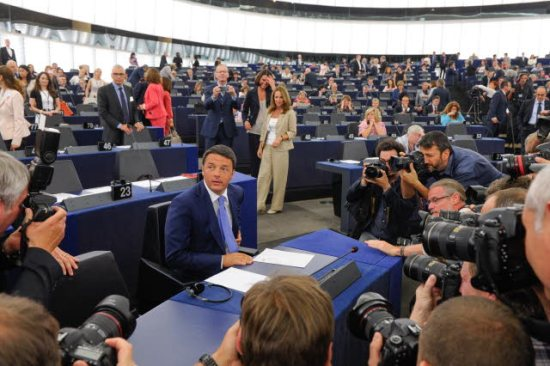 Matteo Renzi President of the Council of Ministers of the Italian Republic, spoke at the plenary of the European Parliament. Italy assumed the EU Council Presidency as from 1st July. (EP Audiovisual Services, 02/07/2014).