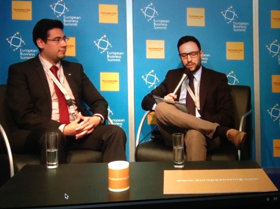 Victor Soto, Vice President of JADE and Director of External Elections is interviewed by Carlo Motta at the Sting's pavilion at EBS 2014