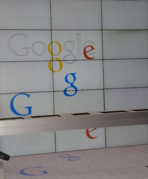 "The word ""Google"" in the hall of the main entrance of the ""Google Partner Plex"" in San Francisco, during José Manuel Barroso's, President of the EC, visit last May (EC Audiovisual Services, 1/05/2014)"