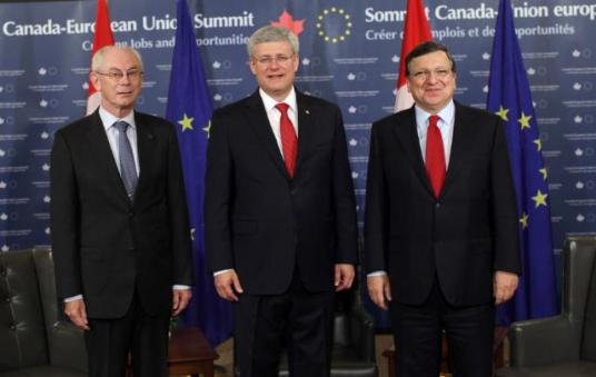 José Manuel Barroso, President of the EC, Herman van Rompuy, President of the European Council, and Stephen Harper, Canadian Prime Minister, participated in the EU/Canada Summit which was held in Ottawa. (from left to right) (EC Audiovisual Services, 26/09/2014)