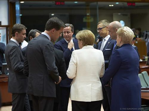 From left to right: Taavi Roivas, Estonian Prime Minister, Mark Rutte, Dutch Prime Minister, David Cameron, UK Prime Minister, Angela Merkel, German Federal Chancellor, Alexander Stubb, Finnish Prime Minister, Fredrik Reinfeldt, Swedish Prime Minister, Dalia Grybauskaite, President of Lithuania. Special meeting of the European Council in Brussels, on Saturday 30 August. (The Council of the European Union Audiovisual Services).