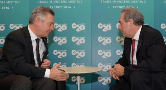 Karel De Gucht, Member of the EC in charge of Trade, met with Michael Froman, US Trade Representative, in Sydney in the margins of the meeting of the Ministers for Trade at the G20 Summit (from left to right), (EC Audiovisual Services, 18/07/2014)