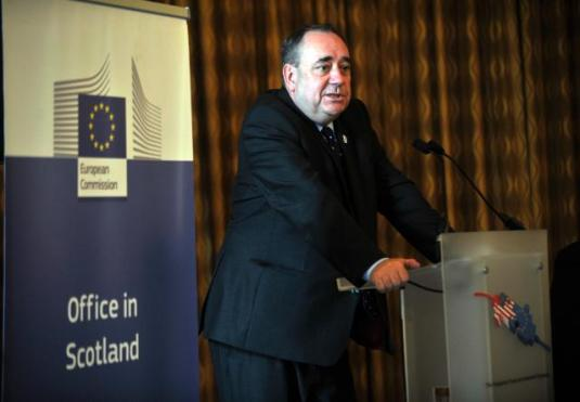 Alex Salmond, First Minister of the Scottish Executive in the podium. He participated in the celebrations organised in preparation for the next Ryder Cup which takes place in Gleneagles, in Perthshire, Scotland. (EC Audiovisual Services).