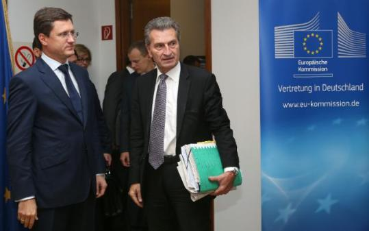 Günther Oettinger, Vice-President of the EC in charge of Energy (on the right) and Aleksandr Novak, Russian Minister for Energy participated in the EU/Russia/Ukraine trilateral meeting which aims to ensure continued gas supplies and transit. To this effect Oettinger proposed a new compromise to secure gas supplies to Europe and the Ukraine during the winter season. The proposal envisages the following comittments:* Ukraine would settle its debts based on a preliminary price of $268,5$/1000m3 by making payments in two tranches: 2 Billion $ by the end of October and 1,1 Billion $ by the end of the year.* Gazprom and Naftogaz agree that at least 5 bcm based on a price of 385$/1000m3 will be delivered to Ukraine in the coming winter with the possibility for Naftogaz to order more gas if needed. 5 bcm is the minimum volume Ukraine considers it would need in the coming winter. There was no immediate reaction by the Russian minister.