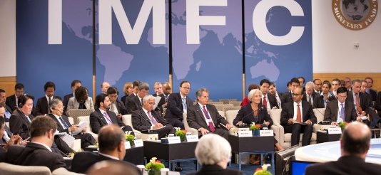 Against the backdrop of a fragile and uneven global recovery, the IMF's policy-steering body—the International Monetary and Financial Committee—met on Saturday 11 October to discuss ways to boost growth and to foster a sustainable, balanced, and job-generating global economy. The Thirtieth Meeting of the IMFC was Chaired by Mr. Tharman Shanmugaratnam, Deputy Prime Minister of Singapore and Minister for Finance (second from right in the front-line of the circle), next to him Christine Lagarde, Managing Director of IMF addresses the meeting. (IMF Audiovisual Services, 11/10/2014).