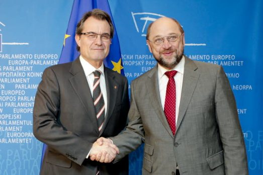 Martin SCHULZ - EP President meets with Artur MAS - President of the Catalan Government. Mr Mas would wish he had the  blessings of Mr Schulz for his illegal vote of last Sunday (EP Audiovisual Services, 21/03/2012)