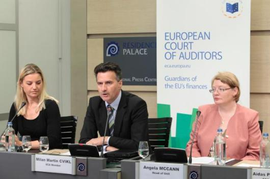 "Irene Madsen, Team leader at the European Court of Auditors, Milan Martin Cvikl, and Angela Hodar McCann, Head of Unit at the European Court of Auditors (from left to right). Cvikl gave a press conference following the publication of the special report n° 5/2014 entitled ""European banking supervision taking shape - EBA and its changing context"" in which the European Court of Auditors assessed whether the Commission and the European Banking Authority (EBA) had satisfactorily carried out their responsibilities in setting up the new arrangements for the regulation and supervision system of the banking sector and to examine how successfully those new arrangements were functioning. The report found shortcomings in cross-border banking supervision, the assessment of the resilience of EU banks, and the promotion of consumer protection. (EC Audiovisual services, 2/7/2014)."