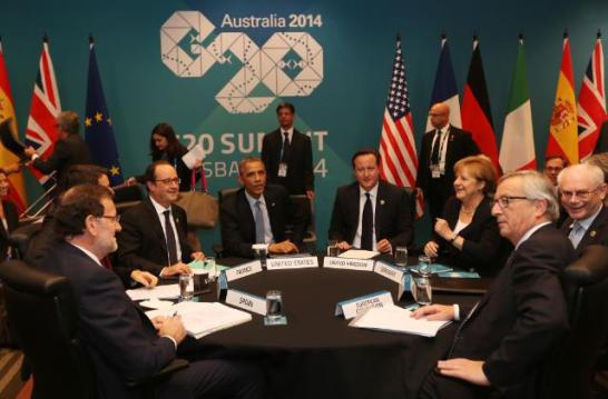 The leaders of the West hold a meeting in the side lines of the Brisbane G20 Summit. (From Right to Left) : Jean-Claude Juncker, President of the European Commission, Angela Merkel, Chancellor of Germany, David Cameron Prime Minister of the United Kingdom, Barack Obama, President of the United States, Francois Hollande, President of France and Mariano Rajoy, Prime Minister of Spain. Matteo Renzi, the Italian Prime Minister is not seen, being sited between Hollande and Rajoy. (EC Audiovisual Services, 16/11/2014).