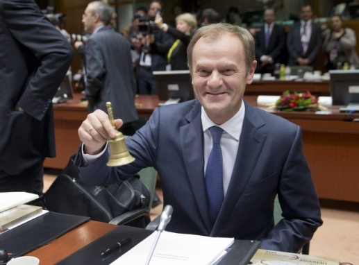"Mr Tusk is happily ""jingling"" the bell during the EU Council of last week (18-19 December). Mr Donald Tusk is the President of the EU Council (EU Council TV newsroom, 18/12/2014)"