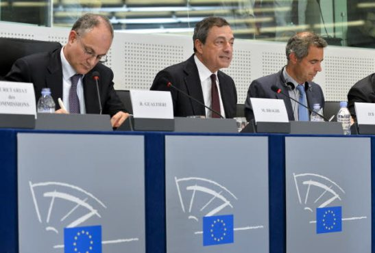 European Parliament. Monetary Dialogue with Mario Draghi, President of the European Central Bank (in the middle) - Adoption by Lithuania of the euro on 1 January 2015. (EP Audiovisual Services).