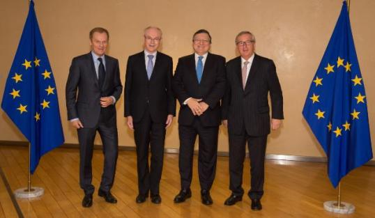 Donald Tusk, Herman van Rompuy, José Manuel Barroso and Jean-Claude Juncker (from left to right). The former and the present EU leaders got together in Brussels to mark the succession, with Barroso looking happy about it. (EC Audiovisual Services).