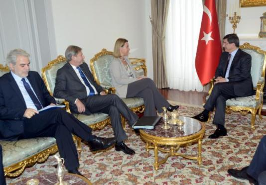 Visit by Federica Mogherini, Johannes Hahn and Christos Stylianides to Turkey. from let to right: Johannes Hahn, Member of the EC in charge of Humanitarian Aid and Crisis Management, Federica Mogherini, High Representative of the Union for Foreign Affairs and Security Policy and Vice-President of the EC, and Ahmet Davutoglu, Turkish Prime Minister. (EC Audiovisual Services, 08/12/2014)