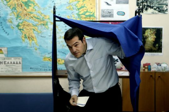 Watch out: Alexis is coming out! Photo taken at the European Elections 2014 - Athens. Greek left-wing opposition leader Alexis TSIPRAS as he casts his vote at a voting center, in Athens, on Sunday, May 25, 2014. (EP Audiovisual Services, 25/05/2014)