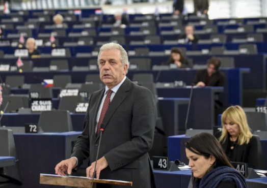 Commissioner Dimitris Avramopoulos in charge of Migration, Home Affairs and Citizenship at plenary session, week 03 2015, during his speak (EP Audiovisual Services, 13/01/2015).