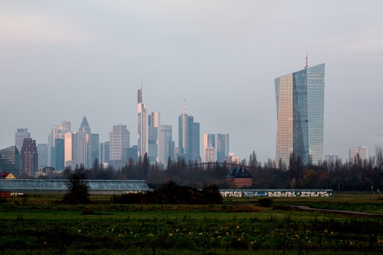 The new ECB premises in Frankfurt am Main, Germany (the tower on the right). (ECB Audiovisual Services 28/11/2014).