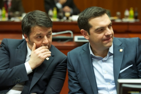 """Do You see Angela entering? Get ready! I told you to wear that tie!"", Renzi should be saying to his good friend to whom recently bought a tie. From left to right, Matteo Renzi, Prime Minister of Italy and Alexis Tsipras, new Prime Minister of Greece (EU Council TVnewsroom, 12/02/2015)"