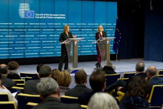 Mrs Mogherini is trying hard to convince EU Ministers of Foreign Affairs to increase sanctions against Russia at the extraordinary Foreign Affairs meeting during last Thursday's Council. Her Greek colleague, Mr Kotzias, apparently is not an easy one. Mrs Mogherini is the High Representative of the EU for Foreign Affairs and Security Policy (TVnewsroom Council, 29/01/2015)